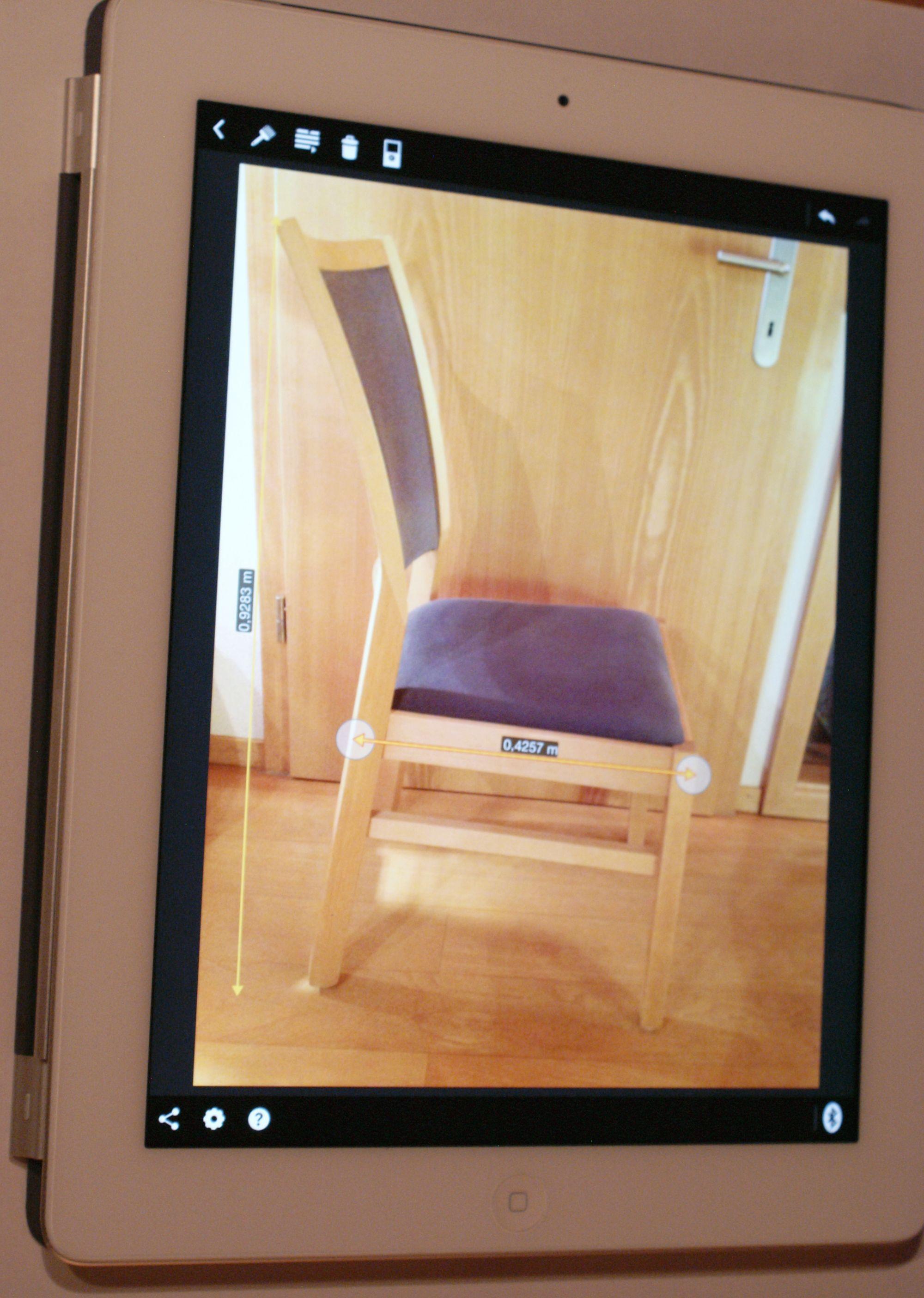 GLGLM 100 C App Ausmessen Stuhl