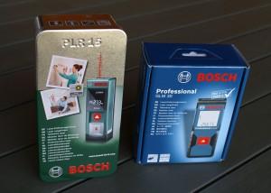 Verpackungen von Bosch PLR 15 und GLM 30
