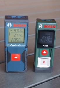 Je 2 Messungen mit PLR 15 und GLM 30 inkl. Summe der Messungen