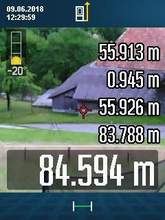 GLM 120 C mit 88 Meter Distanz im Freien bei Helligkeit über MIttag