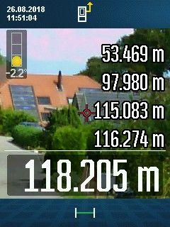 GLM 120 C misst 118 Meter im Freien Sonne gegen 12 Uhr