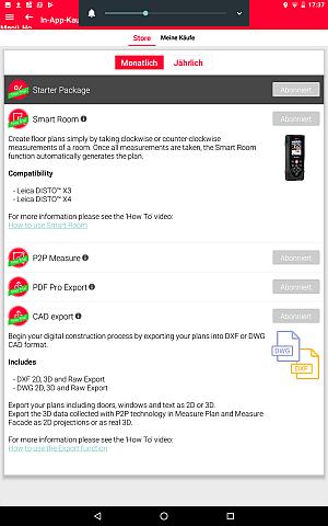 DISTO-PlanZusatzfunktionen per In-App Kauf