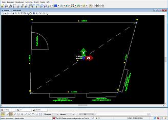 Raum mit schiefen Winkeln: als DWG 3D exportiert und in Bentley View dargestellt